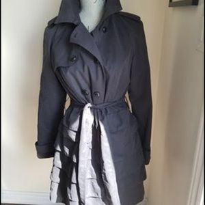 Navy blue small trench with ruffle bottom